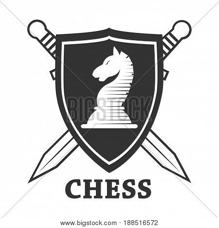 Chess club logo template. Vector isolated badge of horse chessman on heraldic shield with crossed swords. Label or icon for championship or tournament