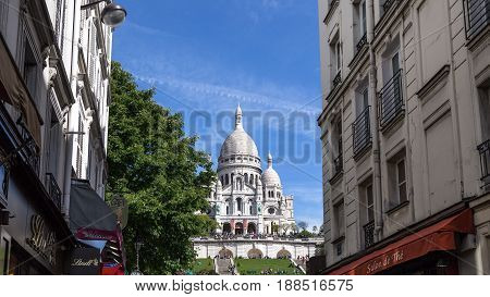 Paris, France - May 12, 2017: Front view of the famous basilica Sacre coeur in Montmartre district