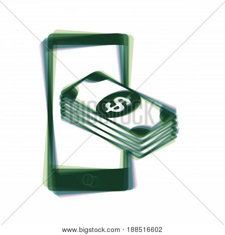 Payment, refill your mobile smart phone, . Vector. Colorful icon shaked with vertical axis at white background. Isolated.