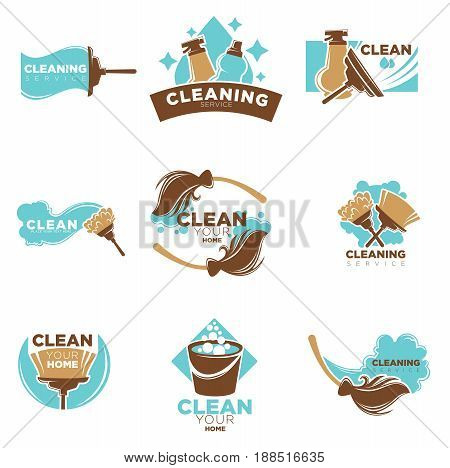 Home cleaning service vector logo templates set of duster, water bucket and mop or brush and dust scoop, detergent or cleaner spray and soap bubbles splash