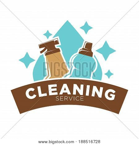 Home cleaning service logo template. Vector isolated symbol of sparkling water drop and washing liquid soap or window cleaner spray on brown ribbon