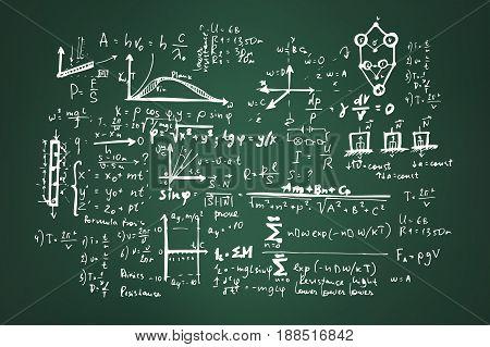 Mathematical, physical formulas on a green school board