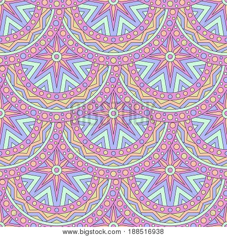 Seamless texture with colored mandalas. Brazilian, Indian, Turkish style