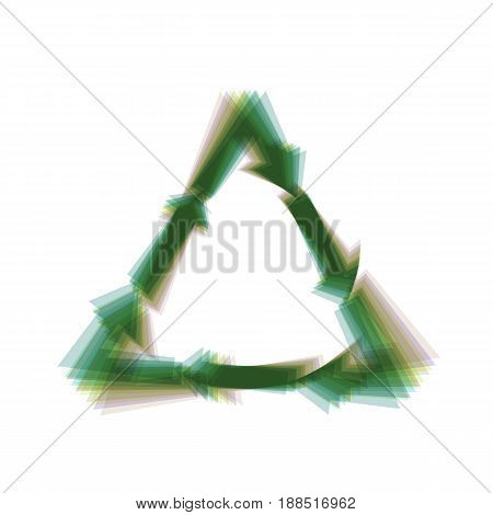 Plastic recycling symbol PVC 3 , Plastic recycling code PVC 3. Vector. Colorful icon shaked with vertical axis at white background. Isolated.