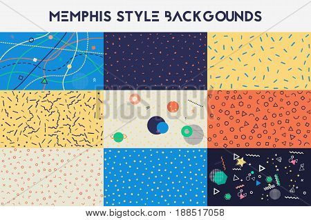 Set of Hipster fashion memphis style backgrounds. Trendy grunge geometric print. Vector illustration