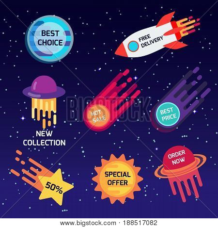 Set of colorful space stickers, banners. Best choice. new collection special offer free delivery hot sale. Vector illustration.
