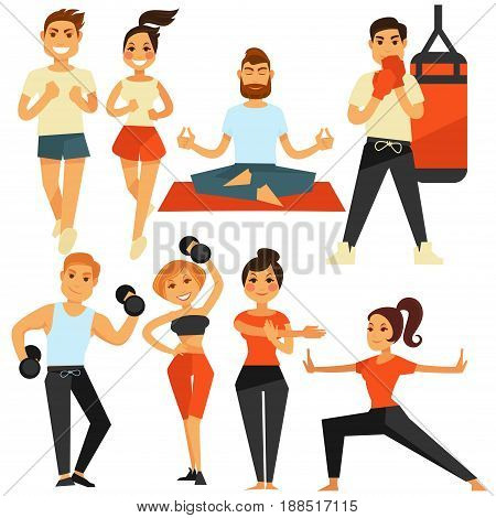 People fitness and sport exercises or shaping trainings. Vector flat icons of man and woman healthy lifestyle in running, boxing or making yoga and lifting weight dumbbells in gym or stretching