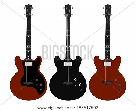 Musical instruments. Set of electric bass guitars isolated on white background. Vector illustration