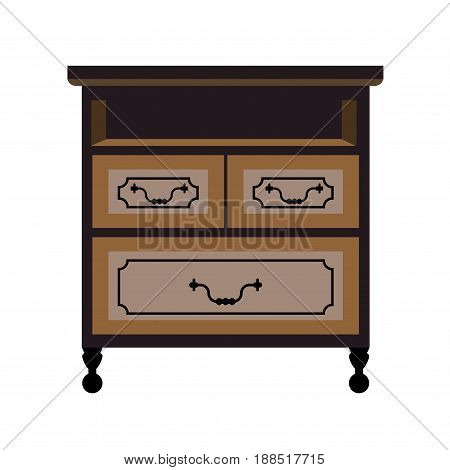 Chest of drawers retro wooden furniture piece. Vector flat isolated icon of writing or work desk bureau locker with drawing boxes