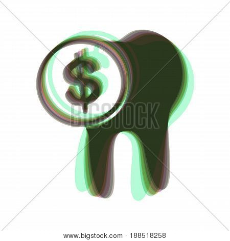 The cost of tooth treatment sign. Vector. Colorful icon shaked with vertical axis at white background. Isolated.