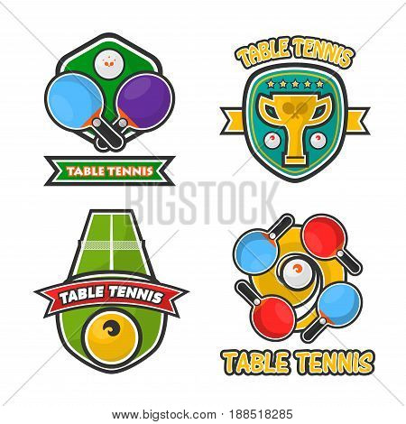 Ping pong table tennis club logos templates or tournament award badges set. Vector symbols and icons of tennis ball and rackets, winner golden cup goblet and championship victory ribbons or prize