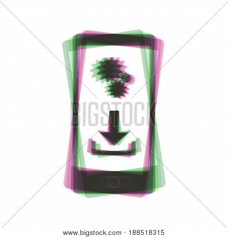 Phone settings. Download and install apps. Vector. Colorful icon shaked with vertical axis at white background. Isolated.