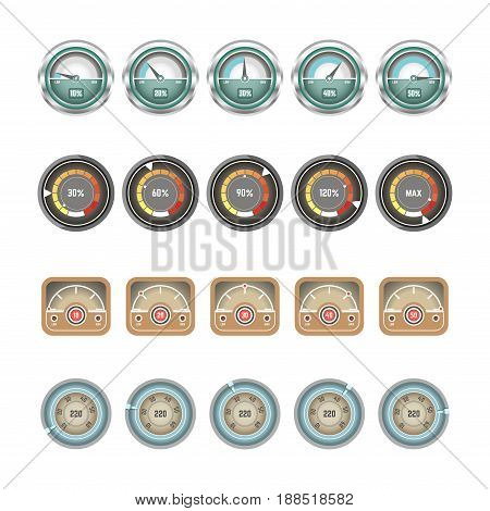 Car speedometers, tachometers and gauge indicator displays set. Vector isolated flat icons of speed tachymeter and velocity measure percent controller