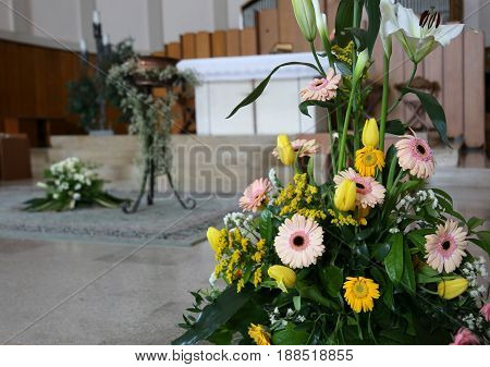Gerberas Flowers And Calla Lilies At The Baptismal Celebration