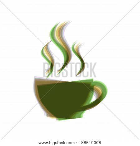 Cup sign with three small streams of smoke. Vector. Colorful icon shaked with vertical axis at white background. Isolated.