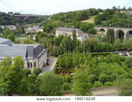 Luxembourg Old Town with Beautiful Park and the 24 Arches Viaduct, Luxembourg City, Luxembourg