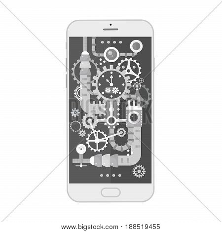 Modern smartphone with different steampunk vintage cogs, gears and scales inside. Vector illustration