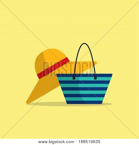Icons of wide-brimmed hat and beach bag on light-yellow background Cartoon style Isolated objects