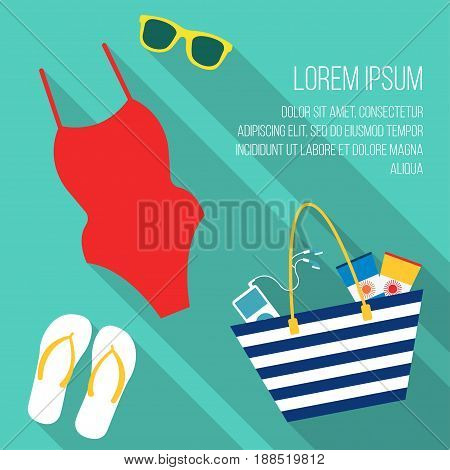 Summer beach holiday Vector illustration Beach bag, sunglasses, sandals and a swimsuit on a turquoise background Flat design