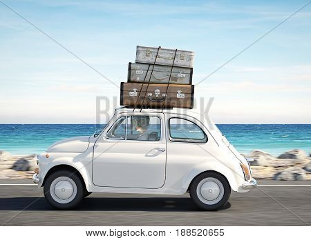 woman rushes in a car with baggage on roof. 3d rendering
