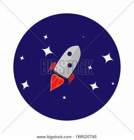 Vector image of a rocket on the background of space