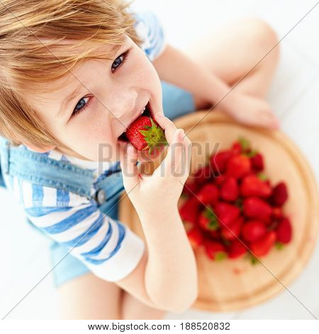 Cute Happy Kid Eating Tasty Ripe Strawberries