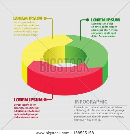 Vector circle arrows infographic cycle diagram graph presentation chart. Business concept with 3 round options circular parts equal steps processes.