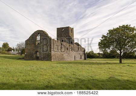 The remains of a 15th century abbey in the town of Callan Co. Kilkenny Ireland