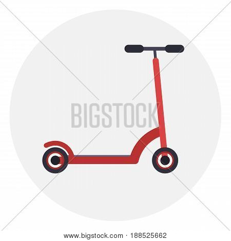 Flat red kick scooter icon ecological urban transport