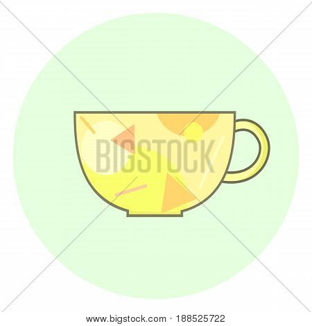 Flat yellow cup icon tea cup with geometric pattern