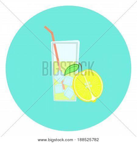 Glass of fresh yellow lemonade with ice icon lemon fruit