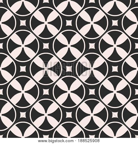 Vector seamless pattern, monochrome mosaic texture with simple geometric shapes rings circles rounded squares. Illustration of propellers vanes. Abstract dark repeat background, symmetric forms seamless pattern