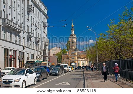 Moscow Russia - May 18 2017: Ancient street Solyanka and the Nativity Church in the historic center of Moscow