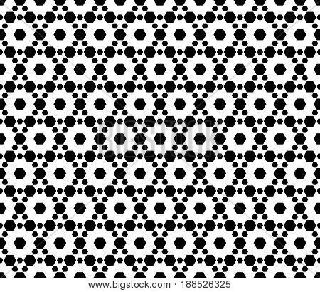 Vector monochrome seamless pattern. Simple modern geometric texture with small hexagons. Hexagonal grid lattice seamless pattern. Repeat black & white abstract background. Design for textile, fabric.