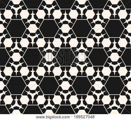 Vector monochrome seamless pattern. Abstract dark geometric background. Delicate linear seamless texture with prickly figures triangles hexagons. Subtle hexagonal grid seamless pattern. Repeat design for prints, decor, web.