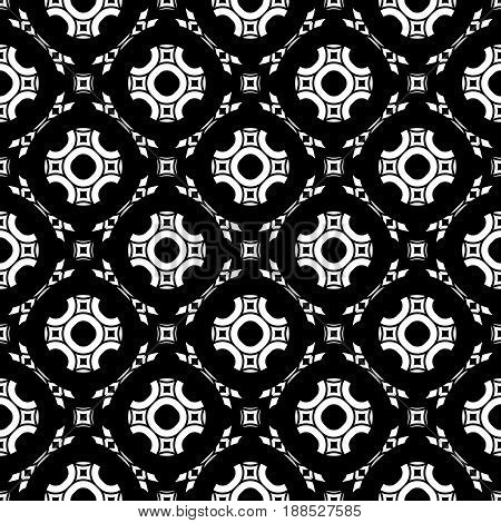 Black and white geometric seamless background. Stylish design in Arabian style traditional motif texture. Vector monochrome seamless pattern. Round lattice floral figures repeat tiles. Texture for print, decor seamless background, web.