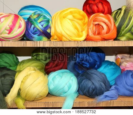 Sale Of Balls Of Soft Wool On The  Haberdashery