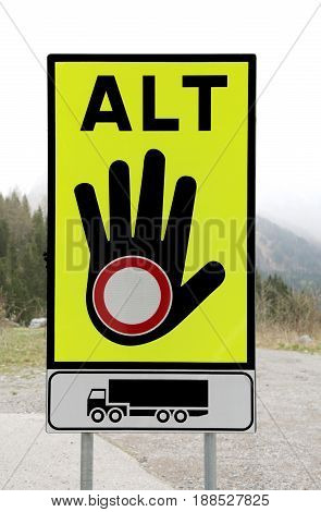 Traffic Sign With One Hand And The Ban Symbol For The Blockade F