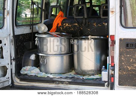 Large Pots For Transporting Food In A Van Of Non-governmental Or