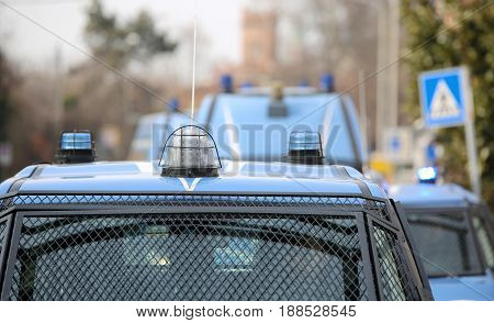 Convoy With Several Police Cars And Armored Vehicles On Patrol T