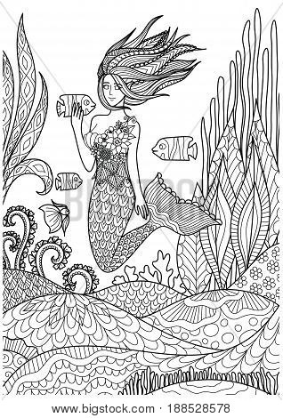 Beautiful mermaid playing with fish under the ocean with amazing corals design for adult coloring book pages. Vector illustration