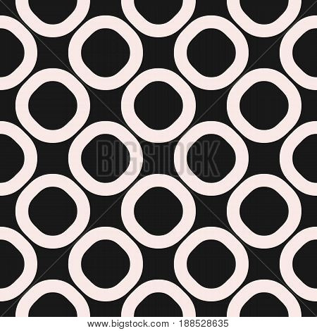 Vector seamless pattern, black & white geometric background, big staggered rings & circles. Simple abstract shapes dark monochrome texture repeat tiles. Design for prints, decor, textile, furniture