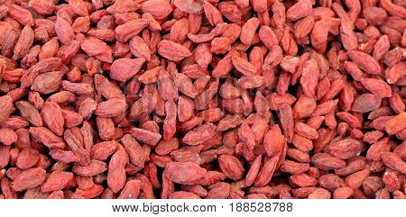 Red Dried Goji Berries Also Called Wolfberry With Many Nutrition