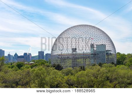 Montreal CA - 28 May 2017: Montreal Skyline and Biosphere in spring