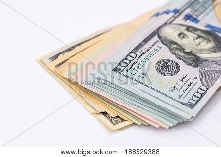 Business Concept - Many Dollars Banknotes, Isolated On White