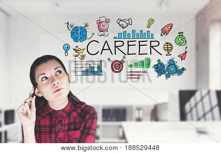 Teen girl is sitting in a white office and thinking about her future business career. Concept of career choice. 3d rendering