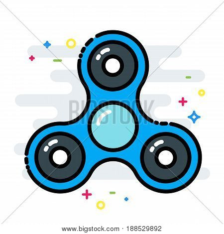 Rotating fidget spinner toy colorful line isolated