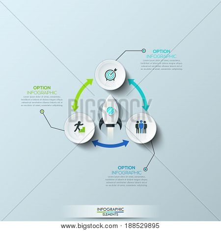 Infographic design template, 3 round elements connected by double-sided arrows and space rocket taking off in center. Startup launch business concept. Vector illustration for brochure, presentation.
