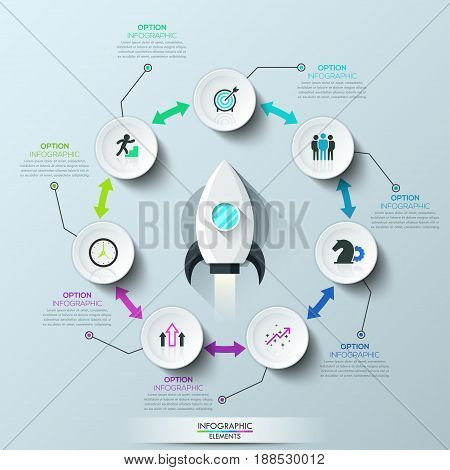 Infographic design template, spacecraft launch and 7 round elements connected by double-headed arrows. Successful startup development concept. Vector illustration for brochure, report, presentation.