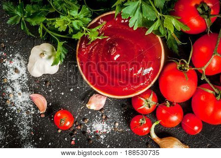 Fresh Homemade Organic Tomato Sauce Or Ketchup, In A Small Bowl. With The Ingredients - Parsley, Oni